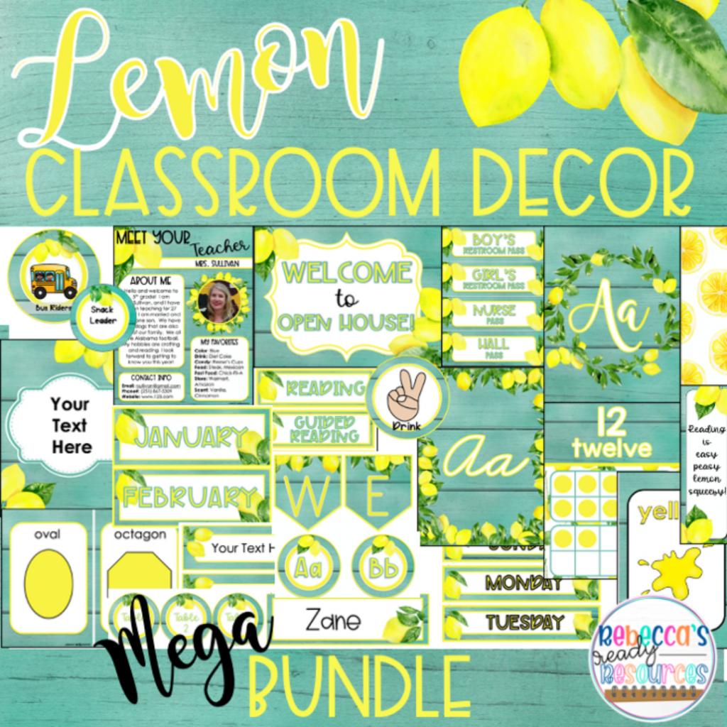 ideas for classroom decor lemon classroom decor bundle